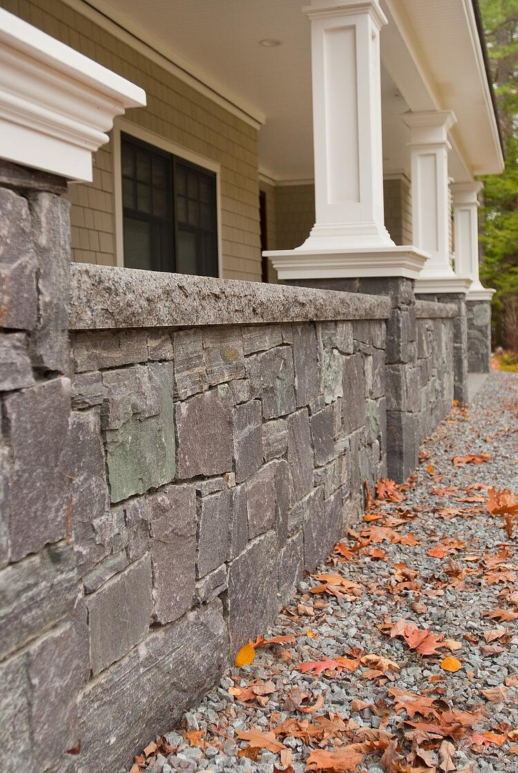 Stone veneer on front porch wall