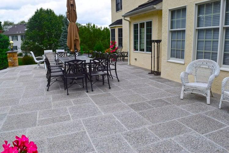 Formal patio, thermal top Caledonia granite pavers