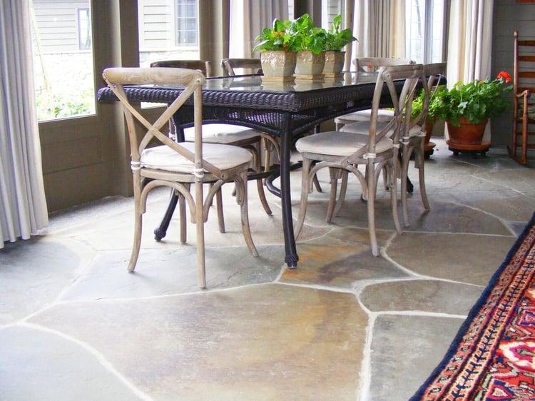 Irregular bluestone pavers dining room flooring