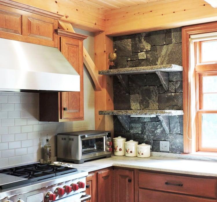 Granite open shelving kitchen