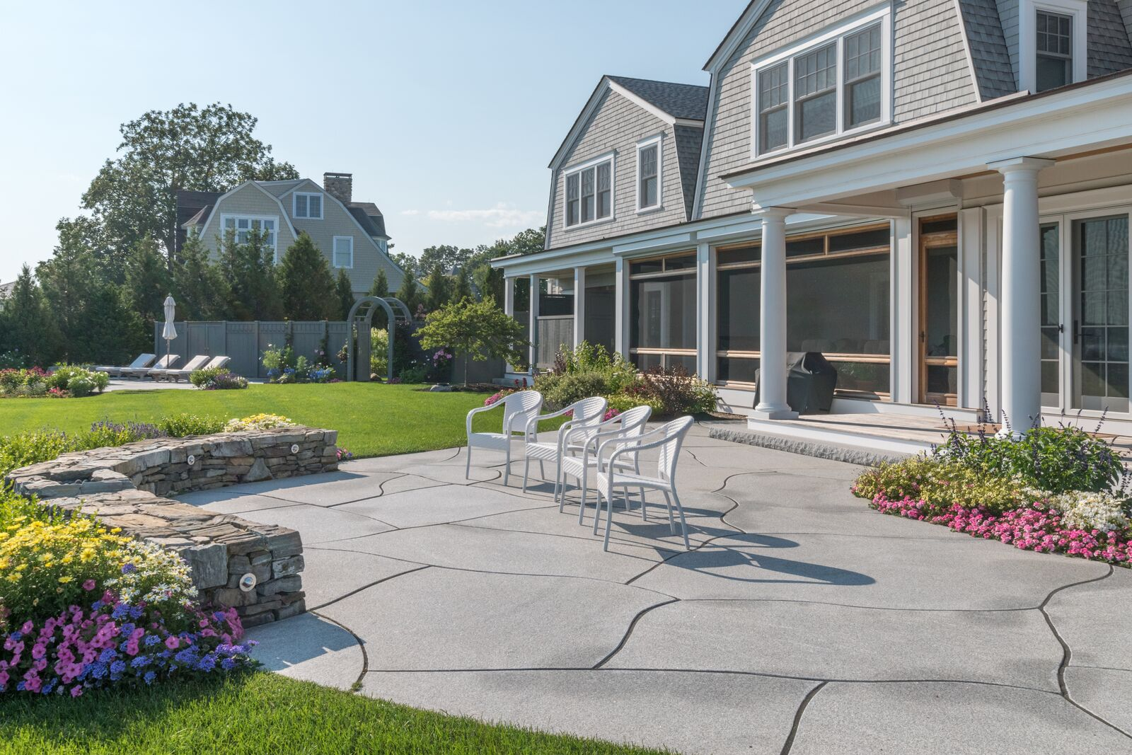 Woodbury Gray granite patio at Rye, NH home