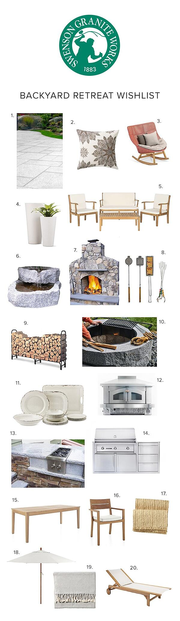 Swenson Backyard Retreat Wishlist