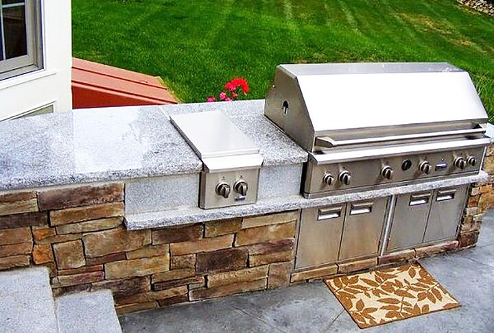 Natural stone and granite outdoor kitchen
