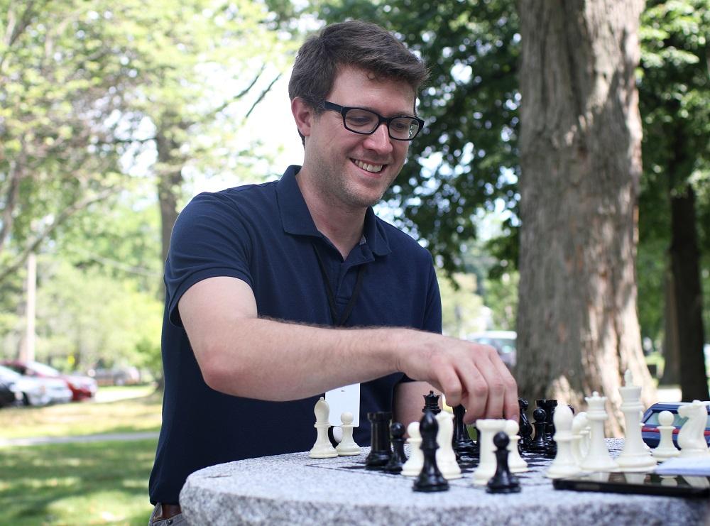 Woodbury Gray™ granite chess table