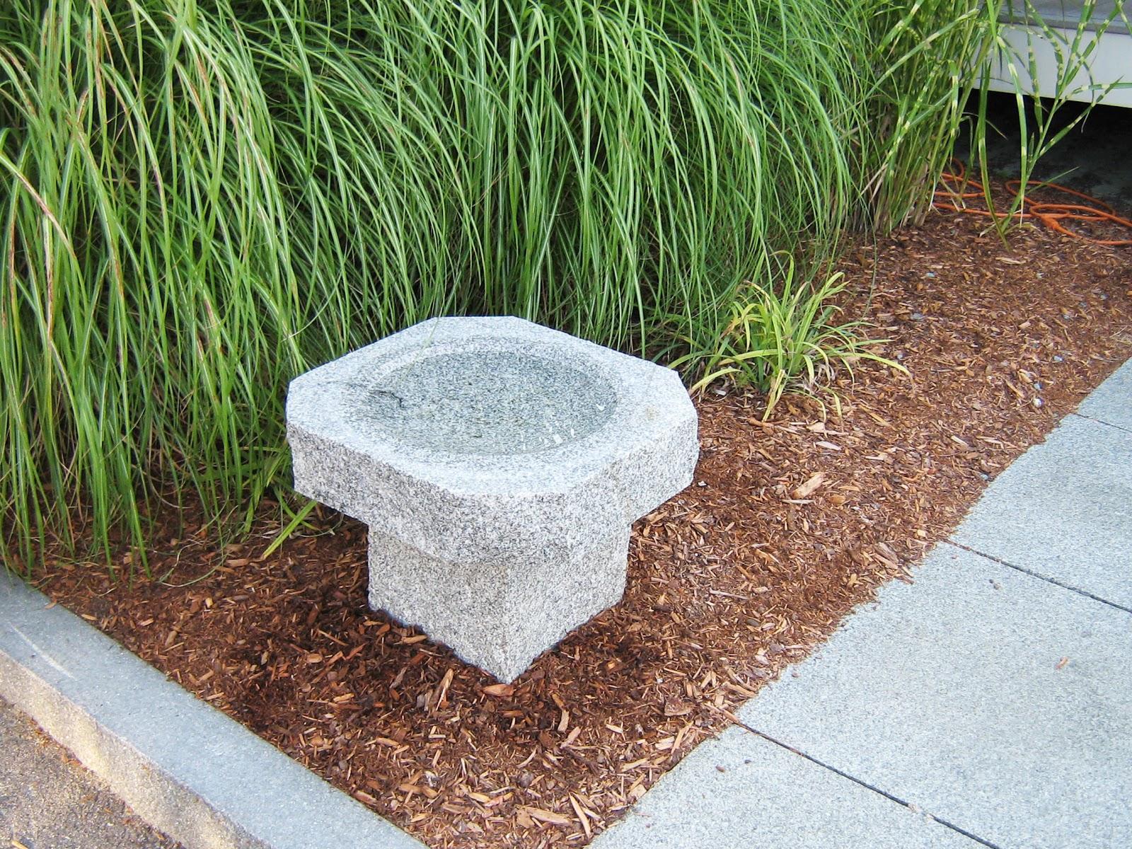 Woodbury Gray granite octagon bird bath