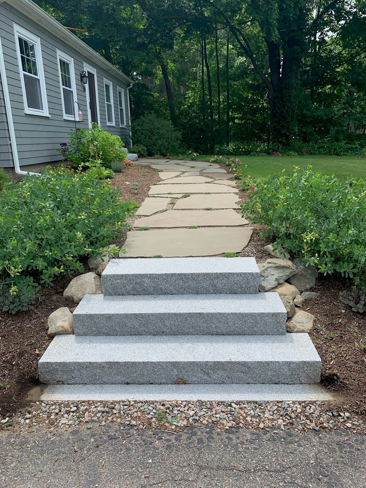 Before and After: Natural Path Landscaping steps project with granite from Swenson Granite Works