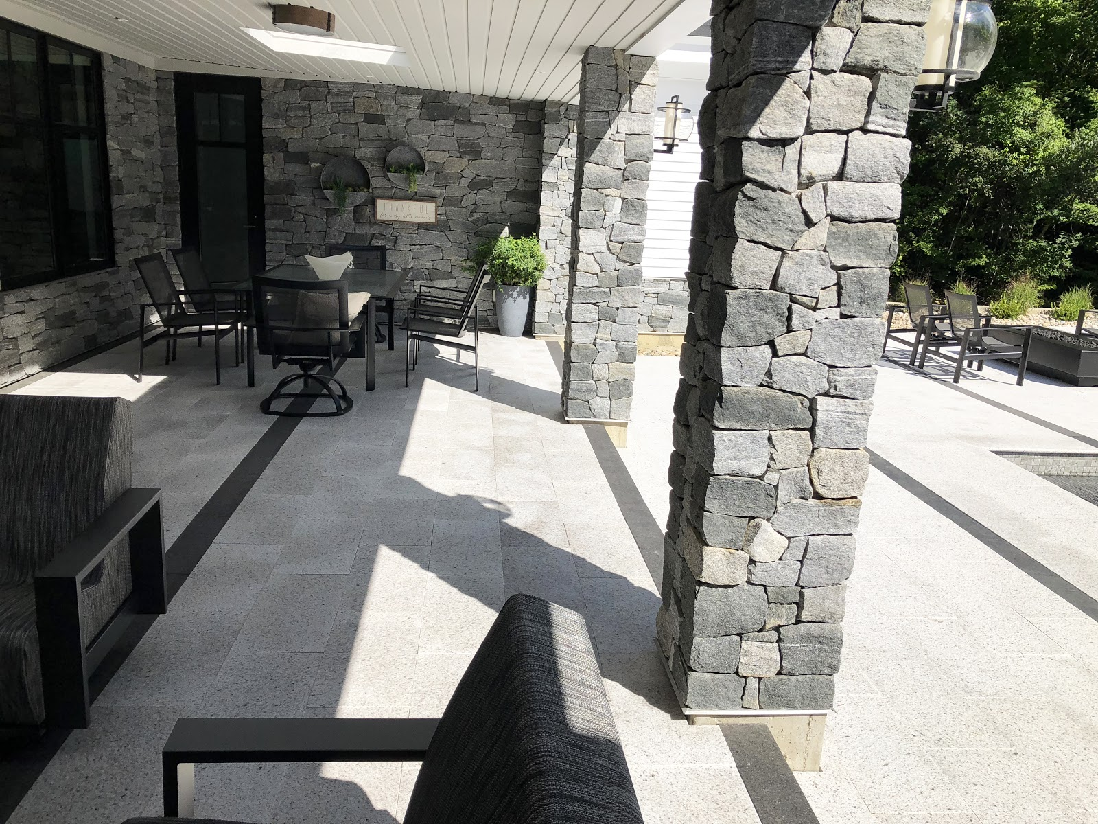 Example of the various stones used in the back patio and pool area