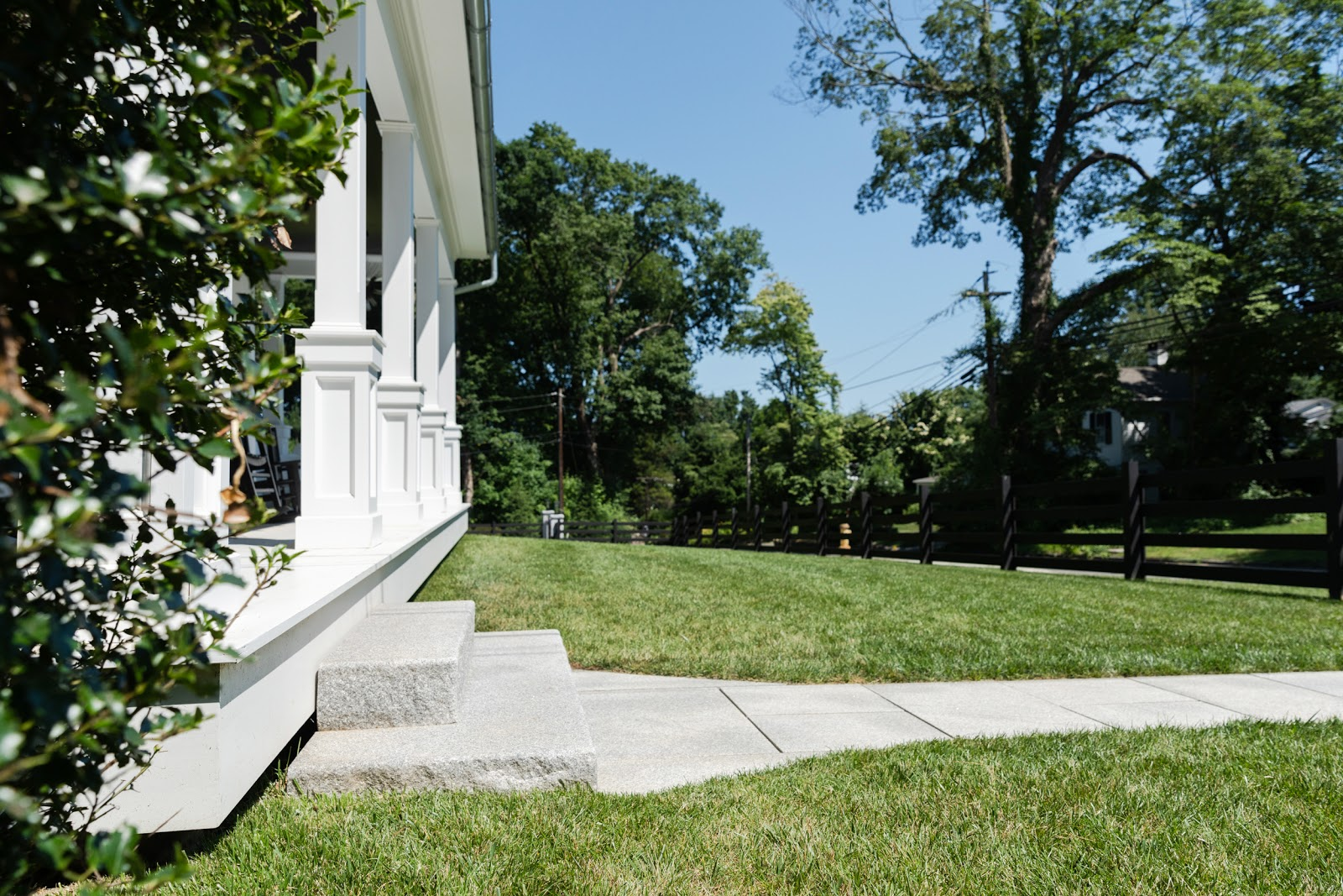 Woodbury Gray granite entry steps and thermal pavers