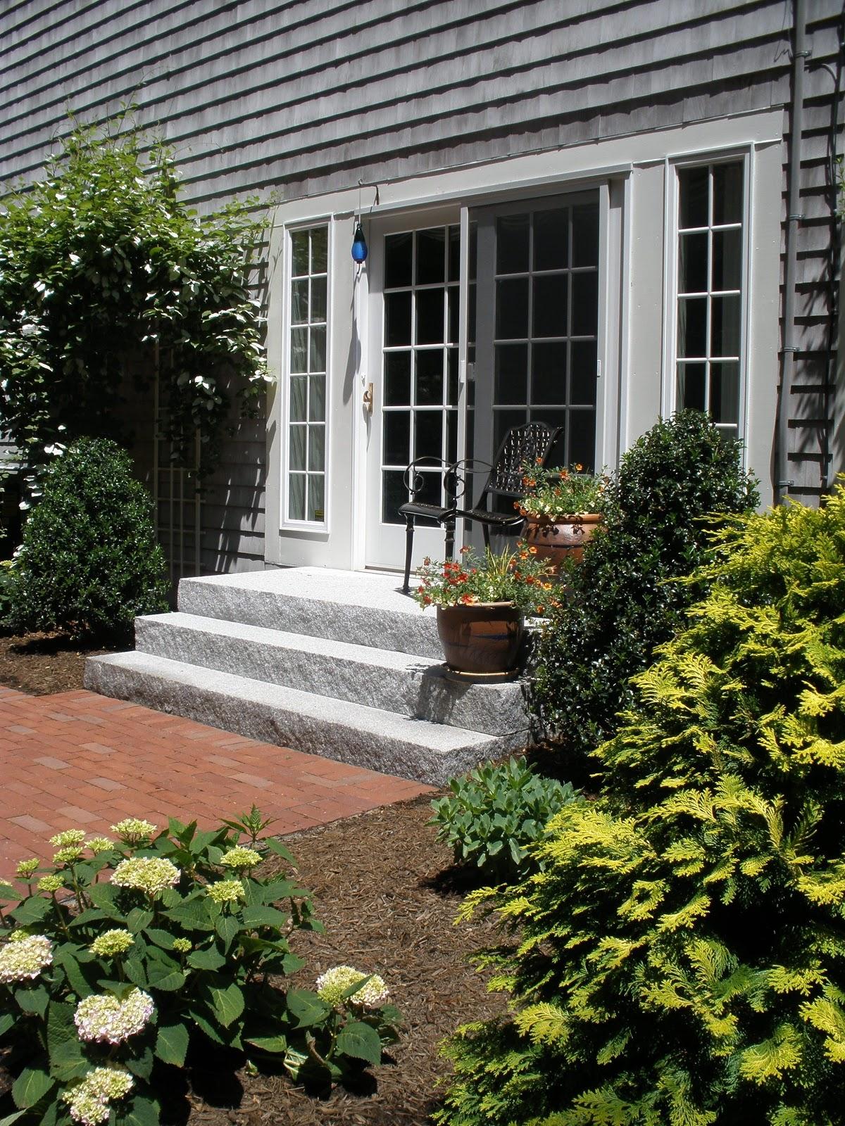 A set of Woodbury Gray granite steps