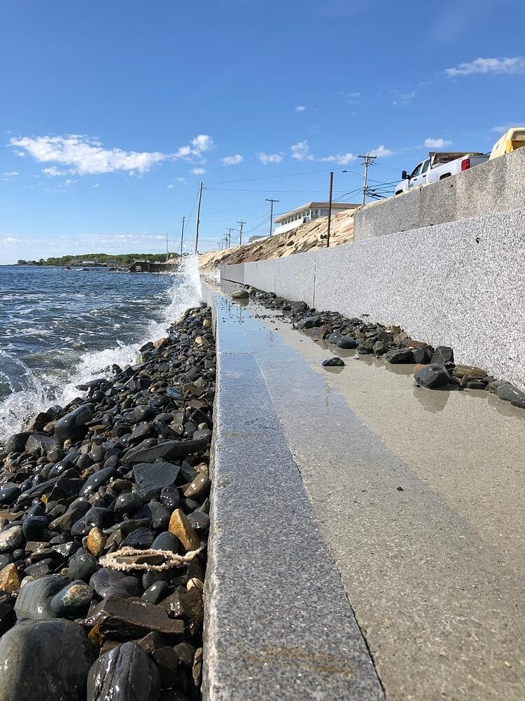 Seawall in York, Maine with CONCORD GRAY™ granite slabs