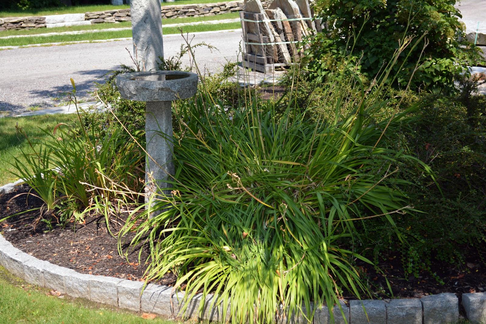 Woodbury Gray granite classic apex bird bath and standard gray cobblestones