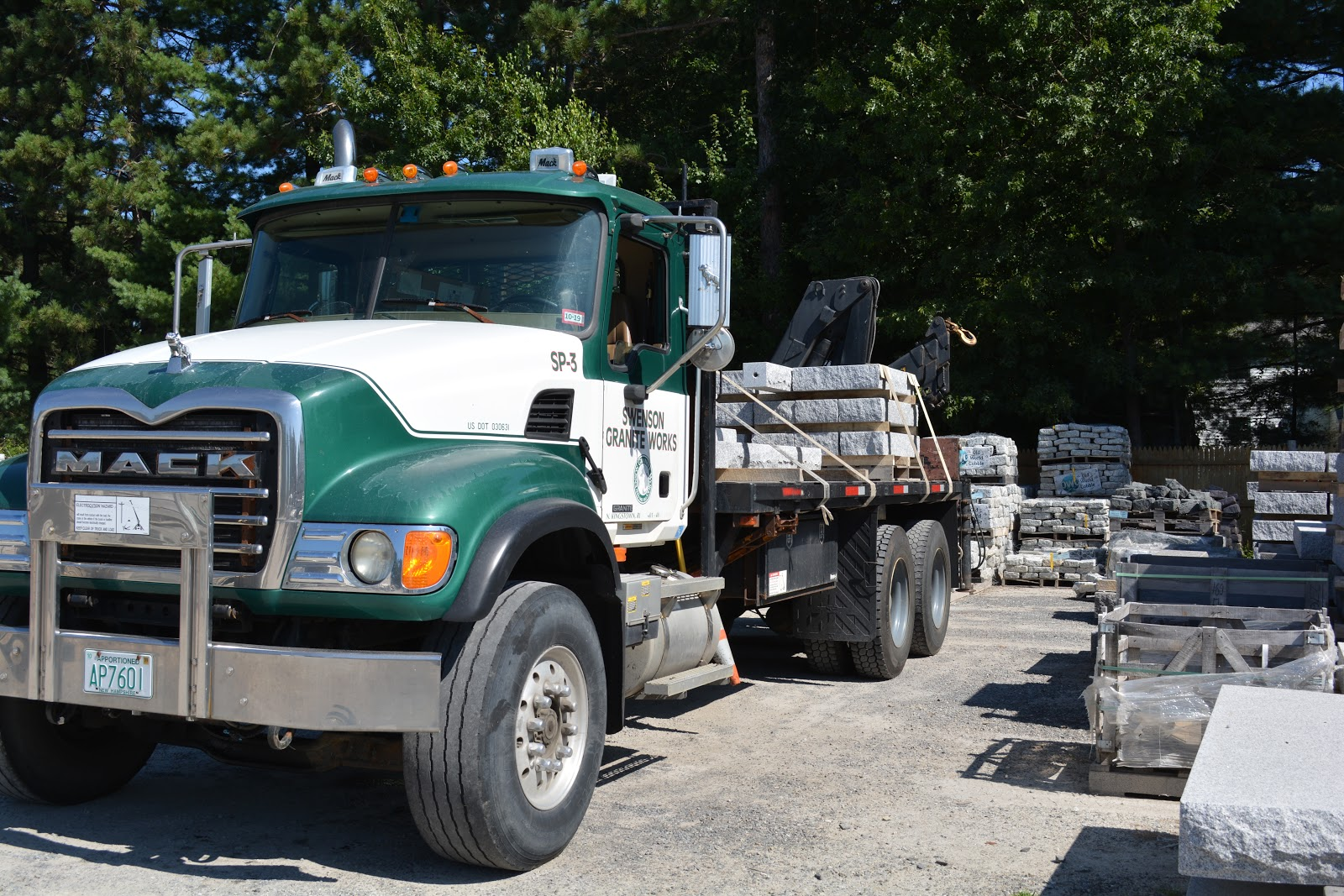 Swenson Granite Works truck loaded with granite steps